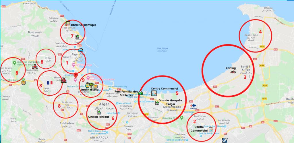 carte d'Alger faire hijra en Algérie